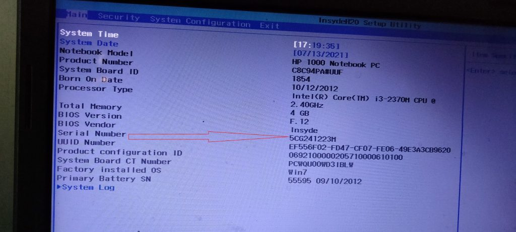 how-to-find-serial-number-of-hp-laptop-from-bios-setup-using-command-prompt
